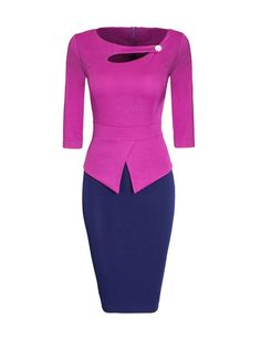 Asymmetric Neckline Color Block Patchwork Bodycon Dress