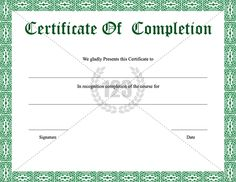 CertificateOfCompletionTemplateGreen  Certificate Of