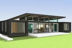 Container House - Love the skillion roof with the high row of windows that can be opened to let hot air out during summer Who Else Wants Simple Step-By-Step Plans To Design And Build A Container Home From Scratch? Beach House Plans, Modern House Plans, Beach House Decor, Container Home Designs, Building A Container Home, Container House Plans, Roof Design, House Design, Beautiful Beach Houses