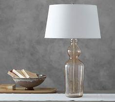 "Aubrey Romantic Column Lamp Base #potterybarn. Base with shade: 5.5"" diameter, 27.25"" high"