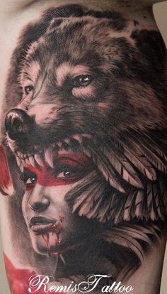 Wolf headdress tattoo girl - 25 Native American Tattoo Designs <3 <3