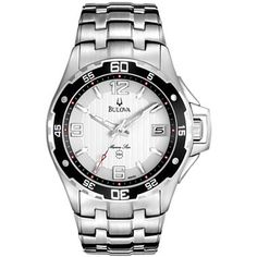 Bulova® Mens White Dial Stainless Steel Watch