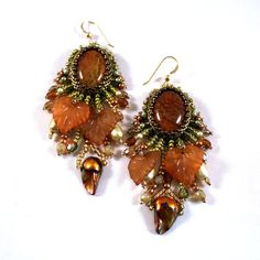 Bead embroidered earrings  Autumn Days by JirikiDesigns on Etsy, €60.00