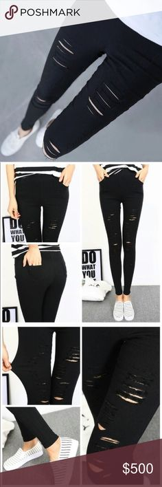 b73695f990c6a Spotted while shopping on Poshmark  Super stretch distressed black  skinnies!  poshmark  fashion