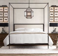 French Iron Canopy Bed:Commissioned by military officers to make life on the march as gracious as life at home, French campaign furniture merged elegant design with rugged portability Modern Canopy Bed, Iron Canopy Bed, Bedding Master Bedroom, Master Bedroom Design, Bedroom Sets, Canopy Beds, Bedroom Designs, Master Suite, Luxury Bedrooms