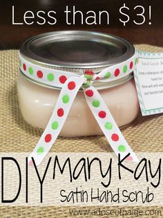 Make your own Mary Kay Satin Hand scrub using just 2 ingredients and saving a ton of money! #beauty #handscrub #diy #satinhands #sugarscrub #dawn