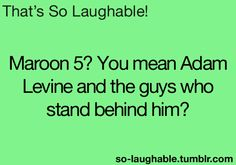 """""""Maroon 5? You mean Adam Levine and the guys who stand behind him?"""" #humor #funny #music SO TRUE"""