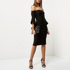 Black frill sleeve bardot bodycon dress - bodycon dresses - dresses - women