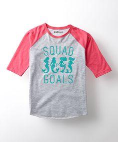 Look at this #zulilyfind! Gray & Pink 'Squad Goals' Raglan Tee - Toddler & Girls by LC Trendz #zulilyfinds