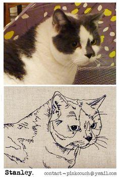 Free-motion machine embroidery Pet Portrait.                                                                                                                                                                                 More