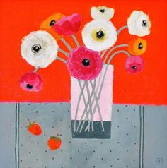 Ranunculus by Jill Leman, Fine Art Greeting Card, Acrylic on Board, Ranunculus in a glass with orange background