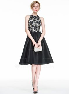 A-Line/Princess Scoop Neck Knee-Length Zipper Up Regular Straps Sleeveless No Black Spring Summer Fall General Plus Taffeta Lace Height:5.7ft Bust:33in Waist:24in Hips:34in US 2 / UK 6 / EU 32 Cocktail Dress