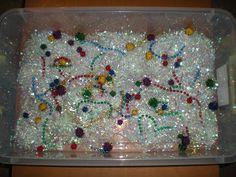 Sensory bin: finding glitter pom-poms hidden in gift bag filler (like Easter grass) Sensory Bins, Sensory Activities, Sensory Play, Toddler Activities, Messy Play, Toddler Play, Kids Church, Pom Poms, Winter Christmas