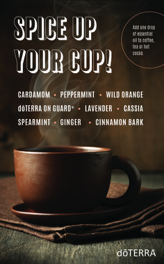 Add flavor to your coffee, tea or hot cocoa with essential oils! Start by dipping a toothpick in the oil bottle then swirl into liquid. For a strong flavor, add 1-2 drops.