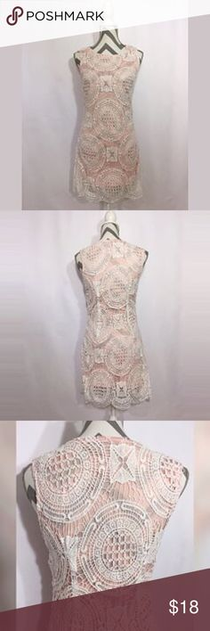 """LTX""-Pink dress w/white lace overlay EUC-Sz Small ""LTX""-Pale pink dress w/white lace overlay & zipper on the side-EUC-Sz Small Material-100% Polyester Approx Measurements laying flat Length-Pink underlay-30""-Lace overlay-33 1/2"" Chest-16"" w/some stretch Colors-Pink, White LTX Dresses Midi"