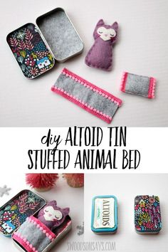 DIY Altoid tin stuffed animal bed Upcycle an old altoids tin into a fun little s. DIY Altoid tin stuffed animal bed Upcycle an old altoids tin into a fun little sleeping spot for a Upcycled Crafts, Sewing Toys, Sewing Crafts, Diy Star, Felt Animal Patterns, Felt Patterns Free, Altoids Tins, Operation Christmas Child, Needle Felted