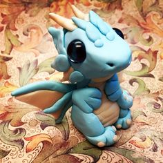 Polymer Clay Blue and White Fairy Dragon by AetherCreations.