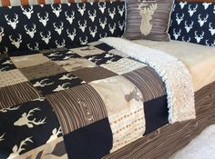 Crib or Toddler Bed Set -Woodland Nursery- Navy, Tan, Brown Deer Crib Set - Baby Boy Bedding by CottonSerenity on Etsy https://www.etsy.com/listing/485815930/crib-or-toddler-bed-set-woodland-nursery