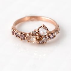 etsyfindoftheday | 7.24.16 pink champagne cluster engagement ring by melaniecaseyjewelry nontraditional, romantic, and super-sparkly … this engagement ring has it all. love the blushing pink...
