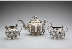 Tea service, circa 1900, crafted in Lucknow.