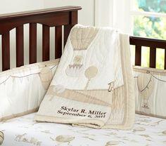 Neutral baby bedding.
