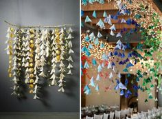 Hanging paper flower garlands