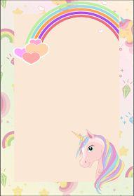Fiestas Personalizadas Imprimibles: Tarjetas de invitacion de unicornio. Descarga Gratis Unicorn Stationary, Unicorn Invitations, Unicorn Birthday Parties, Unicorn Party, School Border, Baby Shower Thank You Cards, Book Journal, Wallpaper Backgrounds, Cute Pictures