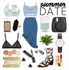 """""""Denim love"""" by ragnhild-stensheim ❤ liked on Polyvore featuring Nails Inc., Nearly Natural, Daniel Wellington, Lipsy, too cool for school, Korres, Cosabella, Gianvito Rossi, Jaeger and Forever 21"""