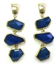 """Heirloom Finds Lapis and Navy Blue 2.75"""" Long Dangle Earrings with Irregular Faceted Resin """"Gems"""""""
