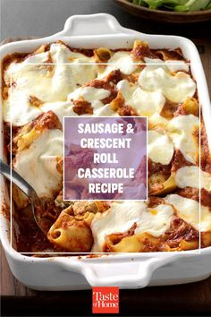 """""""I made this tasty breakfast casserole with crescent rolls for a baby shower. It saved me; preparing it ahead gave me more time to finish decorating for the party."""" —Melody Craft, Conroe, Texas Sausage Crescent Rolls, Crescent Roll Dough, Breakfast Casserole, Breakfast Recipes, Conroe Texas, How To Cook Sausage, Easter Brunch, Spicy Recipes, Casserole Recipes"""