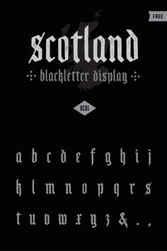Introducing Scotland, from OPENCITYDESIGNCO., an old-school blackletter display font that features a subtle vintage texture. Perfect for any traditional, grunge or vintage design project.
