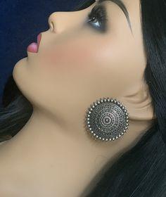 Suryakanti Circle oxidized silver Stud Earrings/ Jhumki/Oxidized Silver Statement Jhumka Earring/Bollywood/German Silver earrings Peacock Earrings, Indian Earrings, Women's Earrings, Silver Earrings, Jewelry Ads, Tribal Jewelry, Beaded Jewelry, Fashion Jewelry, Oxidized Silver
