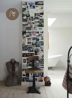 Personal wall with cards and photo's - might actually do something a little similar in my new student room...