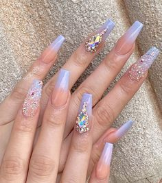 Most Fashionable Acrylic Coffin Nails Art Designs To Inspire You 2019 - Nail Art Nail Swag, Halloween Acrylic Nails, Best Acrylic Nails, Acrylic Art, Ongles Bling Bling, Bling Nails, Bling Nail Art, Rhinestone Nails, Fabulous Nails
