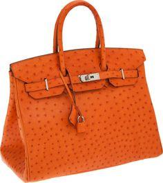 Hermes 35cm Tangerine Ostrich Birkin Bag with Palladium Hardware. Birkin  Bags dc7fdc98e39db