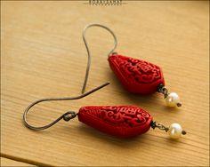 Red Cinnabar Sterling SIlver Earrings - Jewelry by Jason Stroud.