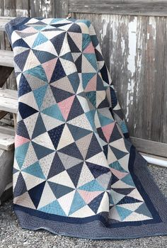 Hour Glass Quilt pattern. Made by Amy Smart - Diary of a Quilter. Fabric: Fllight by Janet Clare for Moda Fabrics.