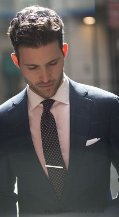 Fresh summer tie bar, impeccable dress shirt and suit.
