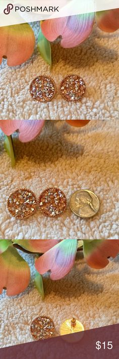 Rose Gold Blush Colored Druzy Stud Earrings Gorgeous Rose Gold Plated Druzy Stud Earrings. Next To Nickel To Show Size. Boutique Item New In Packaging And Comes In Mesh Bag That's Perfect For Gift Giving!! Perfect For Sensitive Ears. No Trades  Don't Forget To Bundle And Save!! Boutique Jewelry Earrings