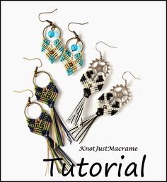 Gypsy Earrings Micro Macrame tutorial by Knot Just Macrame.