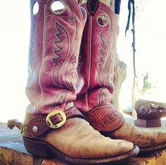 Boots with spurs.