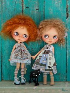 https://flic.kr/p/nAsUHz | Two BFF's and a feisty black kitty... | ...wishing you a wonderful weekend!  Paprika and Apple are my models. Dinky cat by Dinky Darlings, outfits by Marinart - both on etsy