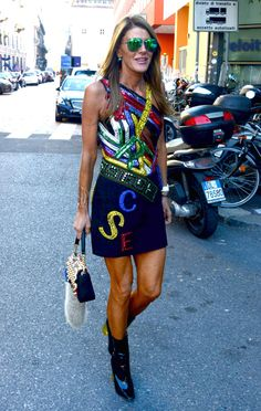 Anna Dello Russo outside the Emporio Armani show during Milan Fashion Week. (Photo: Rex Features, via Associated Press)