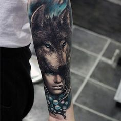 Men's Wolf Tattoos on Forearm
