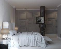 Biało-szara sypialnia w stylu modern classic