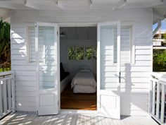 white on white, replaced glass in traditional Qlder doors guest house. Queenslander House, Weatherboard House, French Doors Bedroom, Farmhouse Architecture, Devine Design, Dream House Exterior, House Exteriors, External Doors, Modern Architects