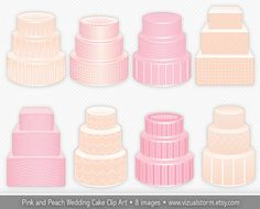 Wedding Cake Clip Art - Pink & Peach Decorative Cakes for DIY birthdays or weddings. Classic chevron, dots, stripes and crisscross details. Buy 2 Get 1 Free. #weddingcakes #cakeclipart #weddingclipart #invitation #clipart #cakeimages #cakedesigns #desserts