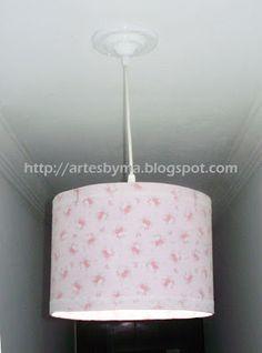 artes by Má: Luminária feita com barrica de papelão