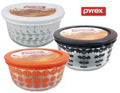 Set of 3 Pyrex 2014 Limited Edition HALLOWEEN 1 Qt Storage Bowls  #Pyrex