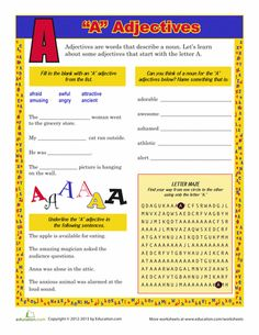 "Worksheets: ""A"" Adjectives"